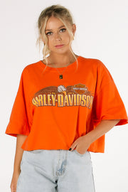 Harley Davidson Savannah Orange Crop Tee