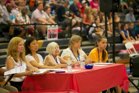 Kathi Ortiz judging at the 2014 Special Olympics