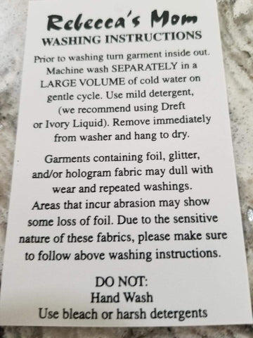 Rebecca's Mom Leotards Washing Instructions