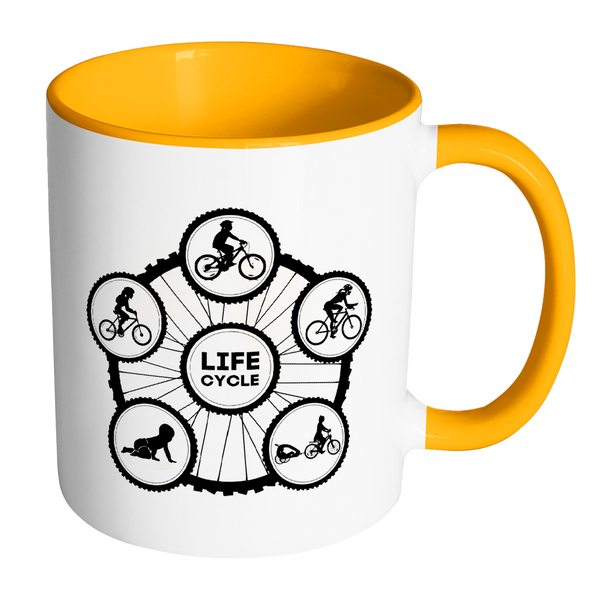 Life Cycle Color Accent Mug - Fun Family Cyclist Gift (Tire Design with Lady Riding)