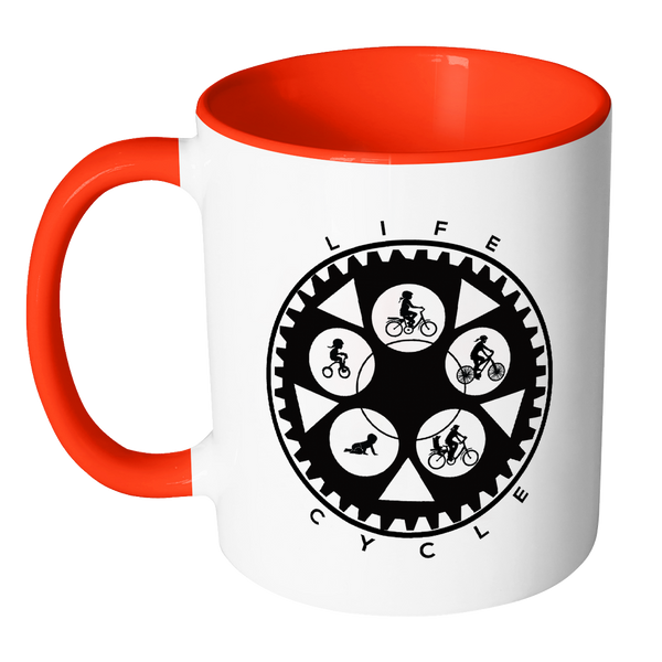 Life Cycle Color Accent Mug - Fun Family Cyclist Gift (Chainring Design with Gal Riding)