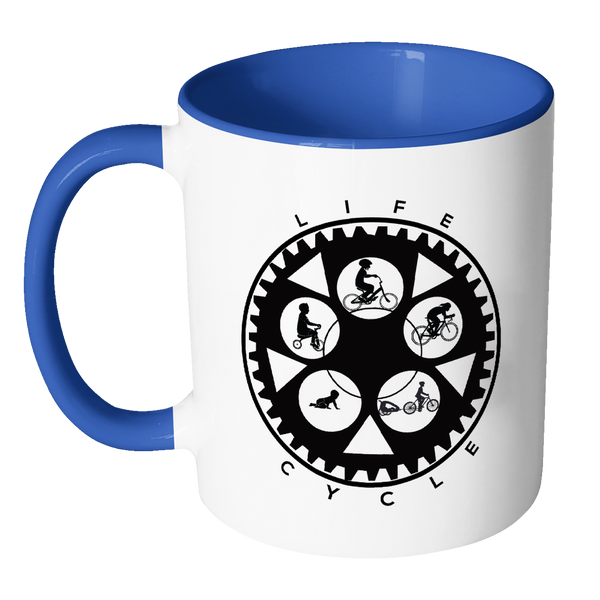 Life Cycle Color Accent Mug - Fun Family Cyclist Gift (Chainring Design with Guy Riding)