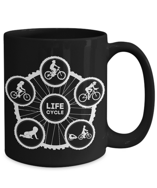 Life Cycle Mug - Fun Family Cyclist Gift (Tire Design with Lady Riding) - Black