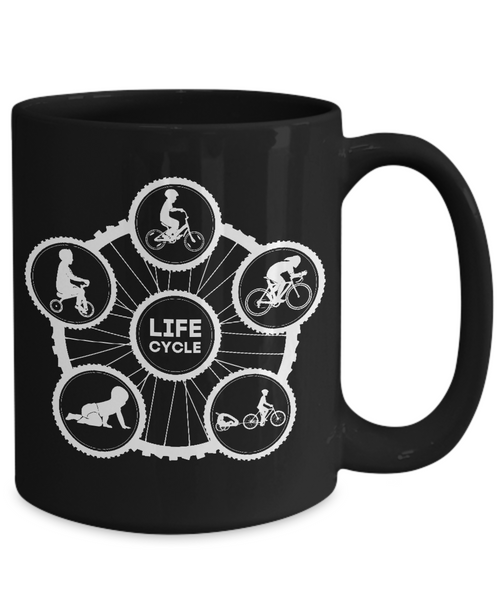 Life Cycle Mug - Fun Family Cyclist Gift (Tire Design with Guy Riding) - Black