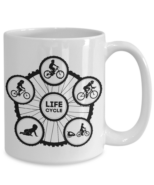 Life Cycle Mug - Fun Family Cyclist Gift (Tire Design with Lady Riding) - White