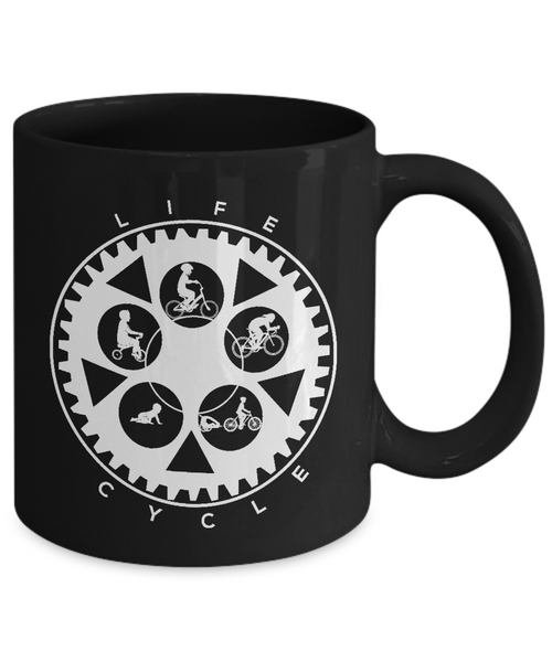 Life Cycle Mug - Fun Family Cyclist Gift (Chainring Design with Guy Riding) - Black