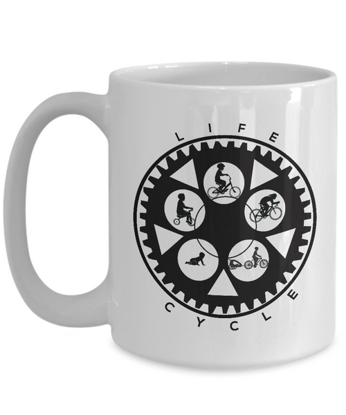 Life Cycle Mug - Fun Family Cyclist Gift (Chainring Design with Guy Riding) - White