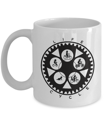 Life Cycle Mug - Fun Family Cyclist Gift (Chainring Design with Lady Riding) - White