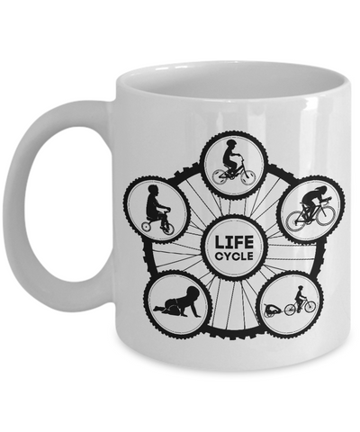 Life Cycle Mug - Fun Family Cyclist Gift (Tire Design with Guy Riding) - White