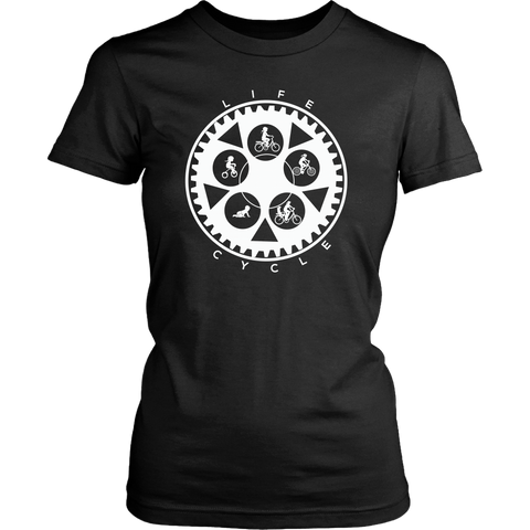 "The ""Life Cycle - Mom"" Chainring Cycling T-Shirt (Women's - White Graphic)"