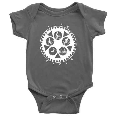 "The ""Life Cycle - Boy"" Chainring Cycling Onesie (White Graphic)"