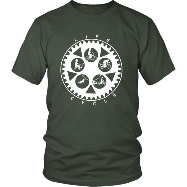 "The ""Life Cycle - Dad"" Chainring Cycling T-Shirt (Men's - White Graphic)"