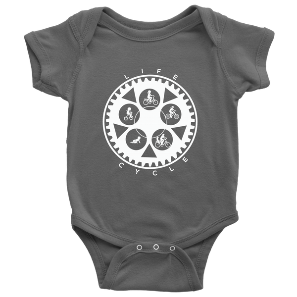 "The ""Life Cycle - Girl"" Chainring Cycling Onesie (White Graphic)"