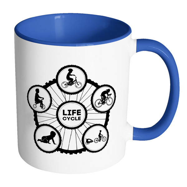 Life Cycle Color Accent Mug - Fun Family Cyclist Gift (Tire Design with Guy Riding)
