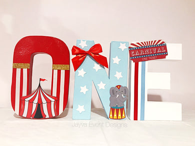 Circus Carnival Theme Decorated Age Words_baby blue