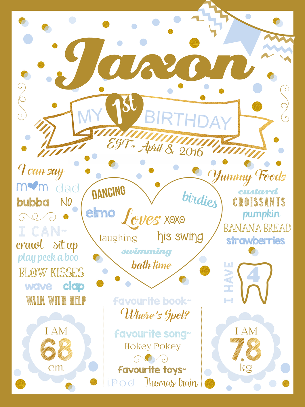 Polkadot Blue Prestige Birthday Party Milestone Poster