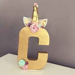 Gold Unicorn Theme Decorated Letter - Pastel