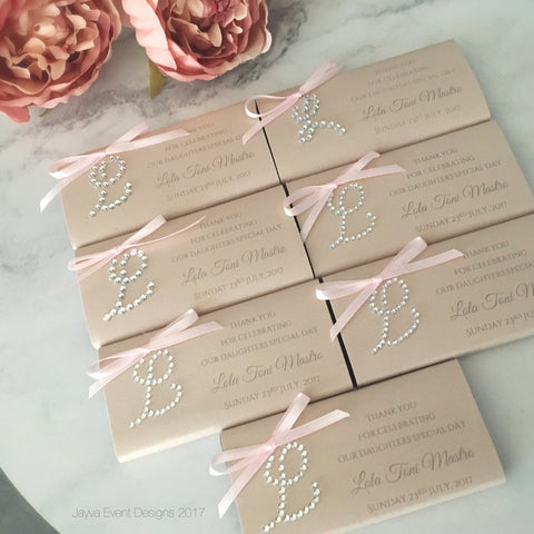 Diamanté Monogram Chocolate Bar Embellished Wrapper - 10 pack