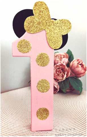Glitter Minnie Mouse Theme Decorated Letter pink & gold