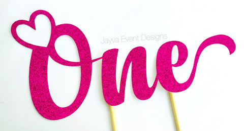 ONE Heart Cake Topper