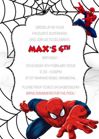 Spiderman Children's Birthday Invitations