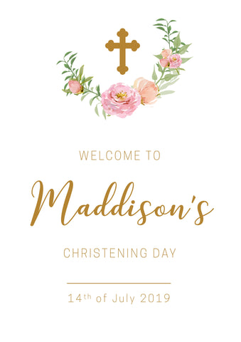 Classic Christening Welcome Poster