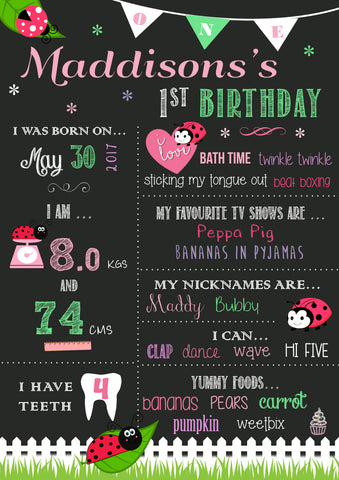 Ladybug Birthday Party Milestone Poster