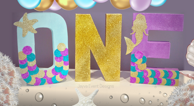 Glitter Mermaid Decorated Age Words