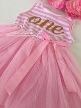 Glitter 'ONE' striped tutu dress