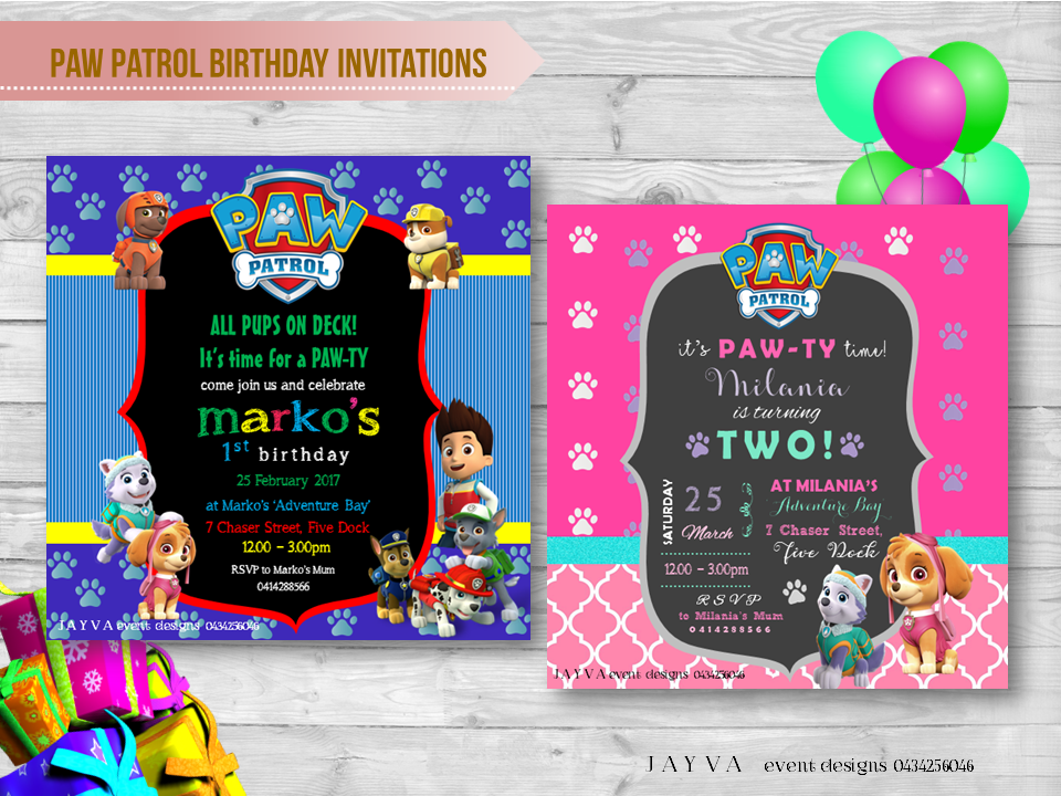 Paw Patrol Childrens Birthday Invitations