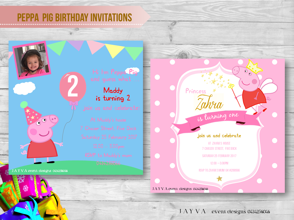 Peppa Pig Childrens Birthday Invitations