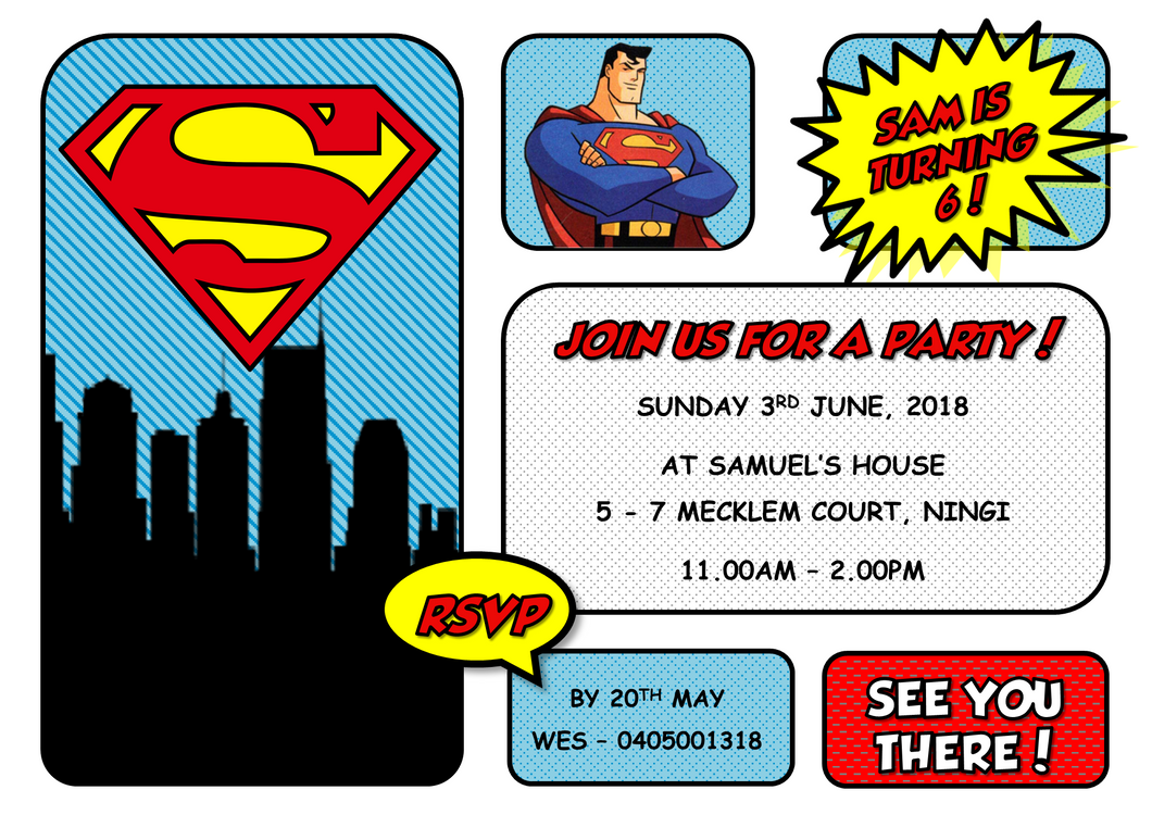 Superman Children's Birthday Invitations