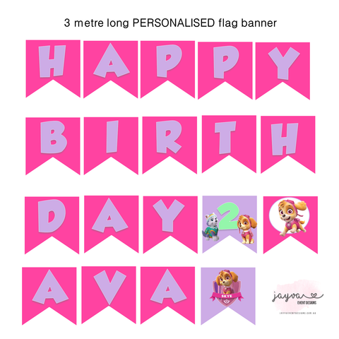 Paw Patrol Birthday Flag Banner - Girls