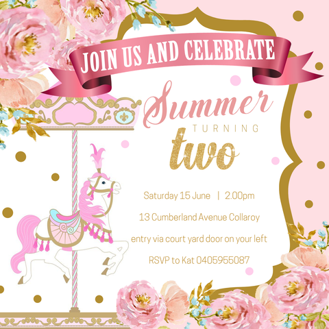 Carousel Children's Birthday Invitations