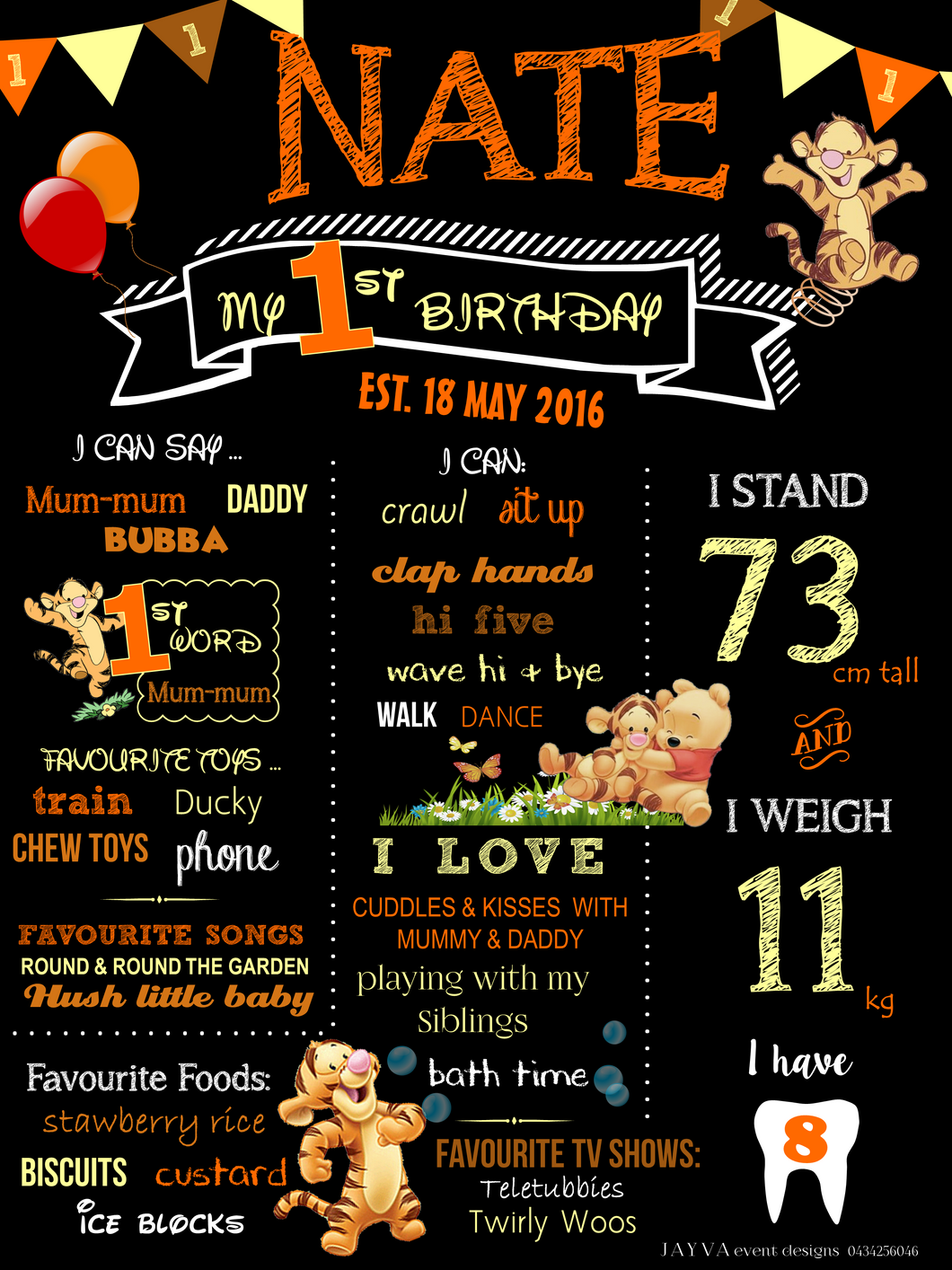 Buy tigger theme birthday party milestone poster at jayva event tigger theme birthday party milestone poster filmwisefo