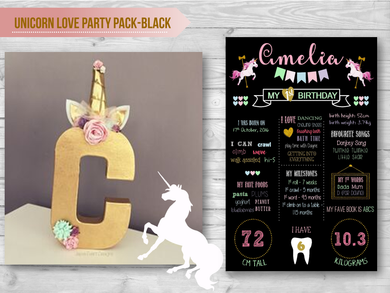 Unicorn Love Party Pack- Black