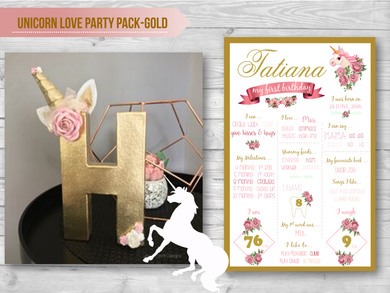Unicorn Love Party Pack- Gold
