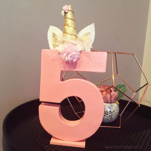Unicorn Theme Decorated Letter - Pink