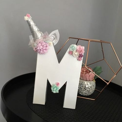 Unicorn Theme Decorated Letter - Silver