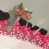 Minnie Mouse Pink Ribbon Decorated Letter