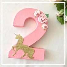 Unicorn Theme Decorated Letter - Pink Floral