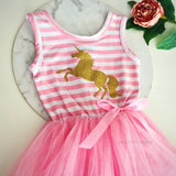 Unicorn Gold Glitter striped tutu dress
