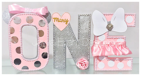 Silver Chic Minnie Mouse Decorated Age Words