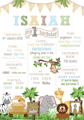 Jungle Safari White Birthday Party Milestone Poster