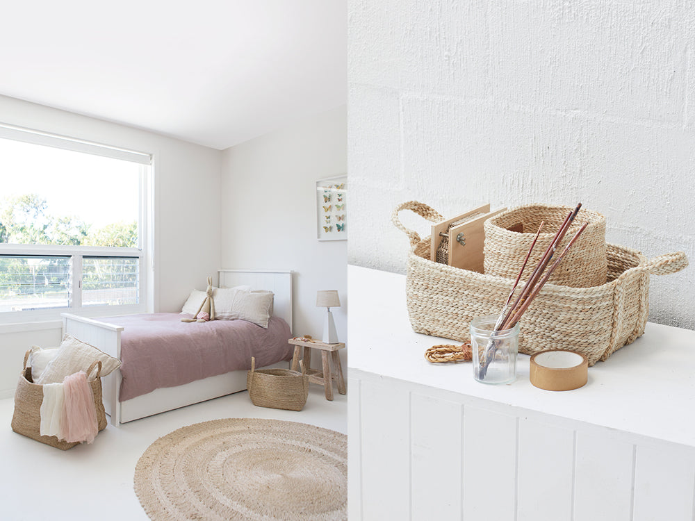 Jute baskets used for pilow and blanket storage in a child's bedroom