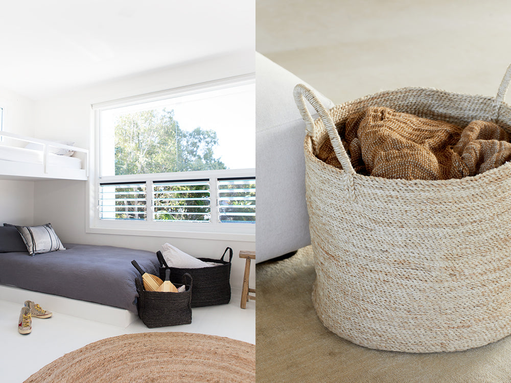 Square jute baskets used for both storage and decoration in a boy's bedroom
