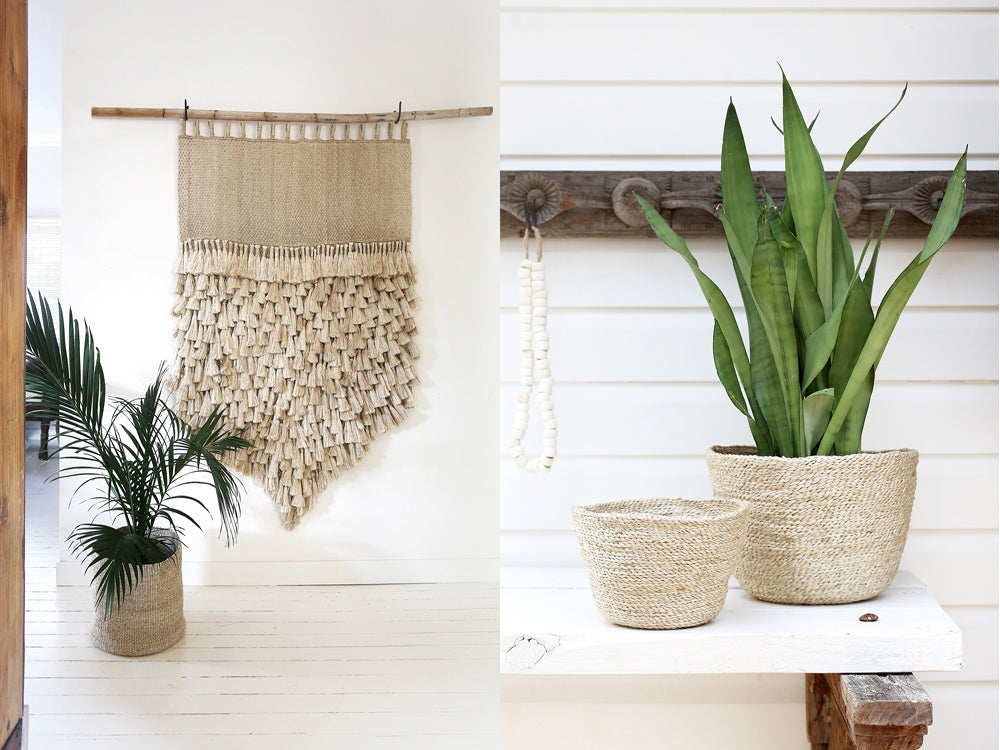 boho decor natural baskets