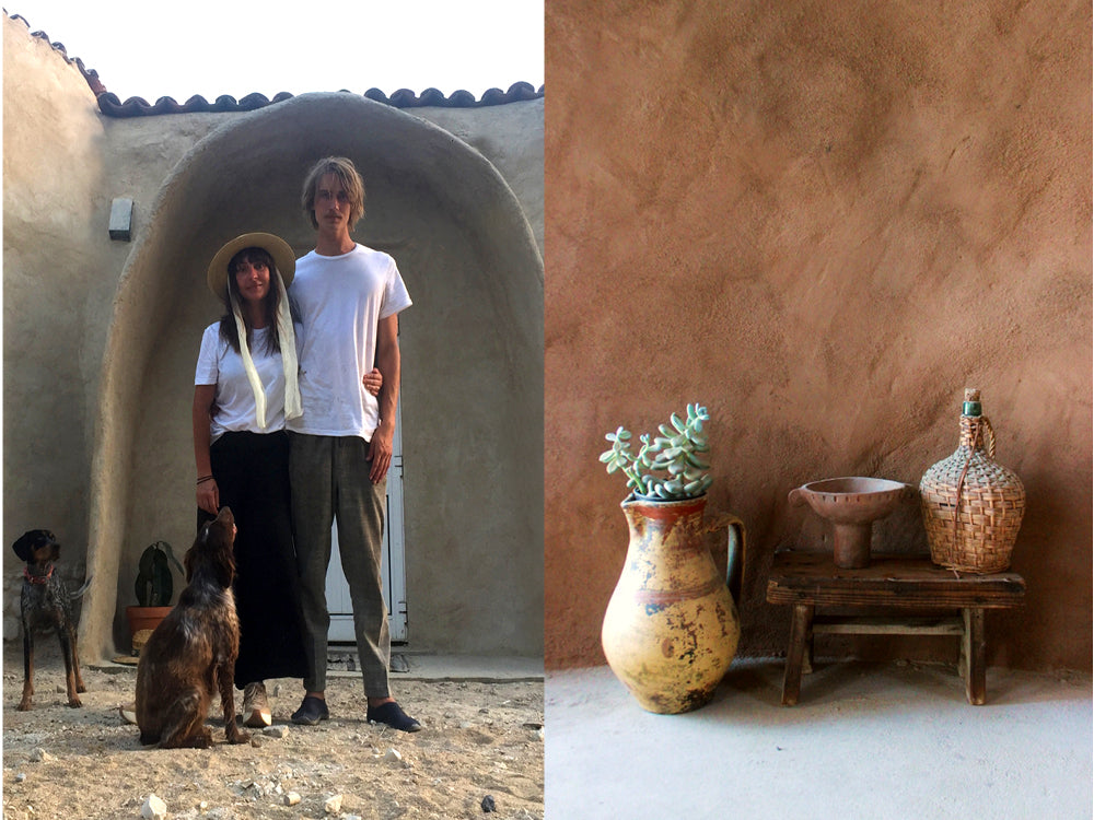 Masion de Base - Ebonie Bohlin & husband, Martin with their two dogs. Ceramic pots and woven jug sitting on a wooden bench.