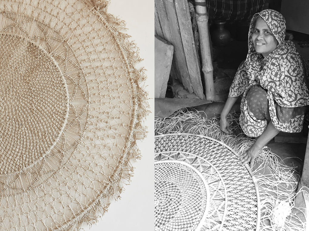 woven wall hanging - split image of round mandala wall hanging and one of our fair trade artisans in Bangladesh weaving a wall hanging