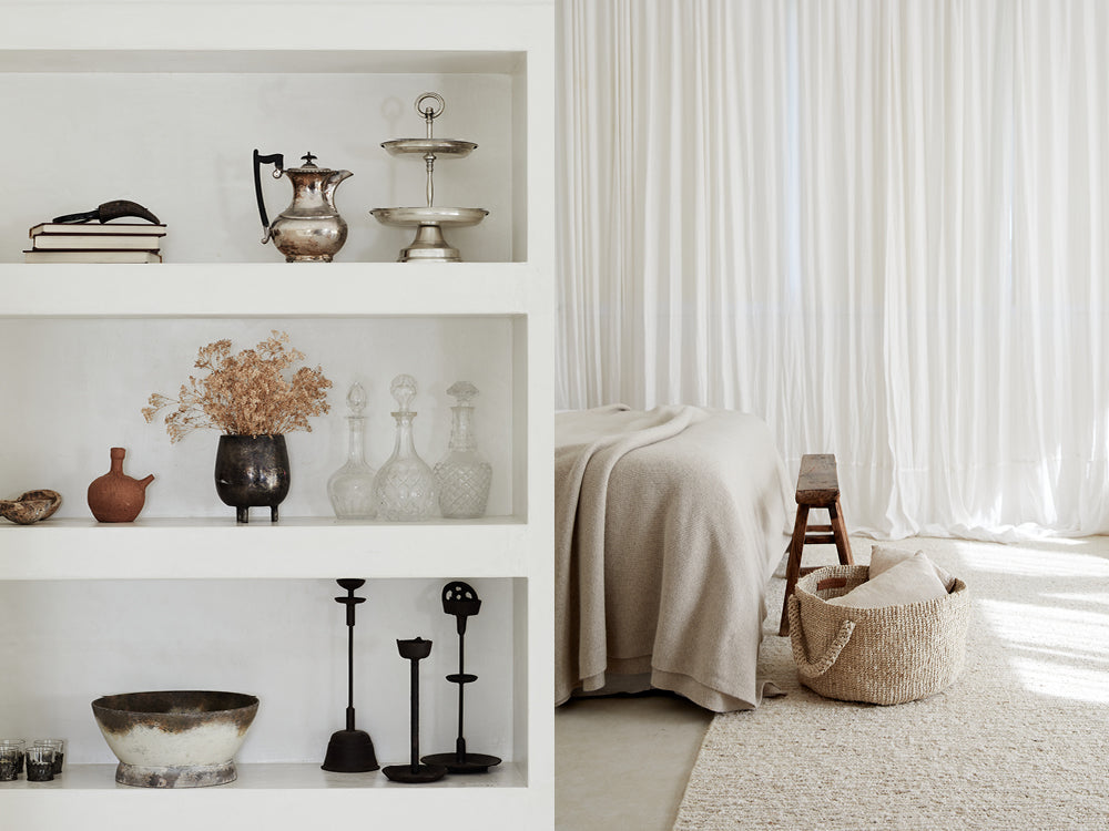 Close up shot of shelves with decorative items. A bedroom in neutral tones.